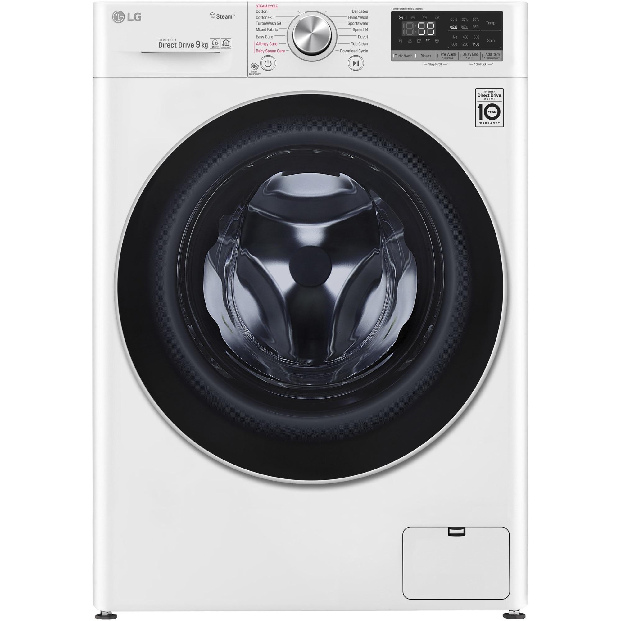 Fotografie Masina de spalat rufe LG F4WN609S1, 9 kg, 1400 RPM, Clasa D, Direct Drive, Turbo Wash, Steam, Smart Diagnoisis, WiFi, Alb