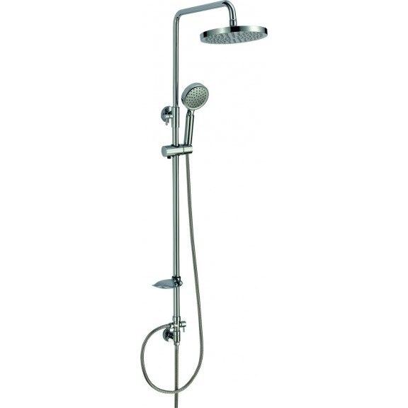 Fotografie Sistem de dus Inter Ceramic 8856, dus fix si mobil, robinet, suport sapun, Crom