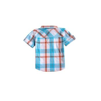 Camasa pentru baieti, din bumbac, albastra, in carouri