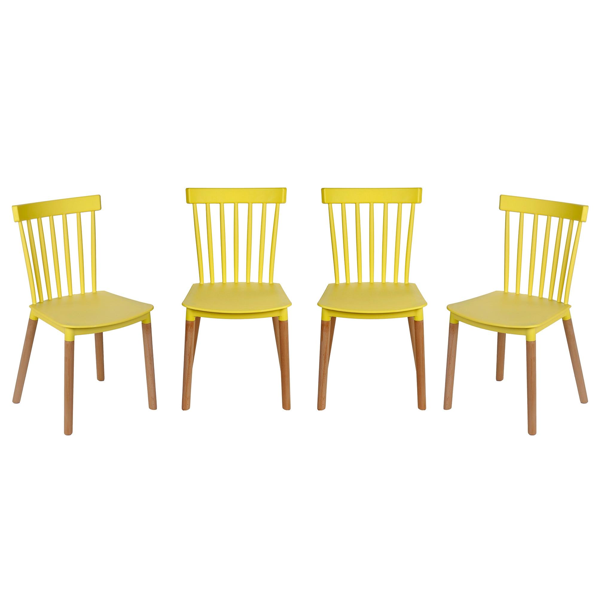 Fotografie Set 4 scaune Kring Herbie, PP + lemn, Galben