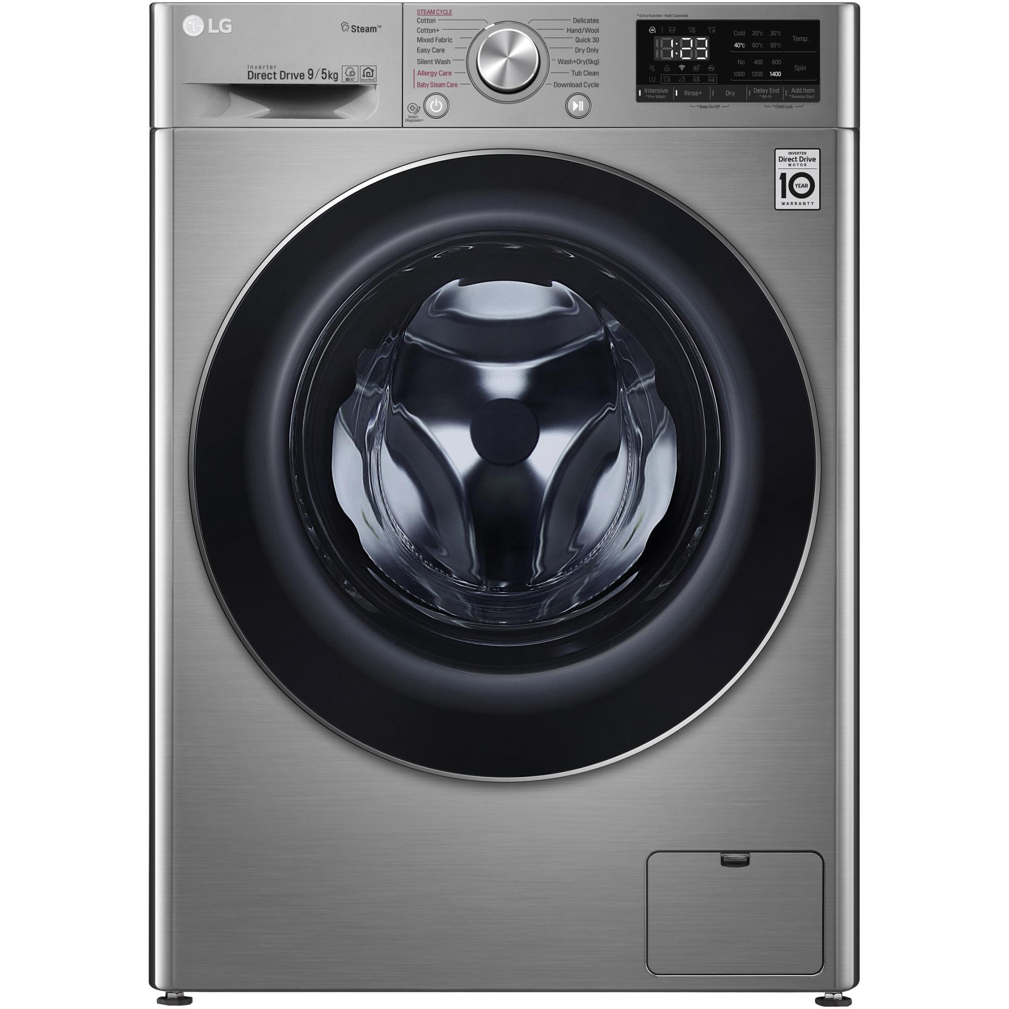 Fotografie Masina de spalat rufe cu uscator LG F4DN409S2T, 1400 RPM, Spalare 9 kg / Uscare 5 kg, Clasa D, Motor AI Direct Drive, Smart Diagnosis, Spa Steam, WiFi, Argintiu