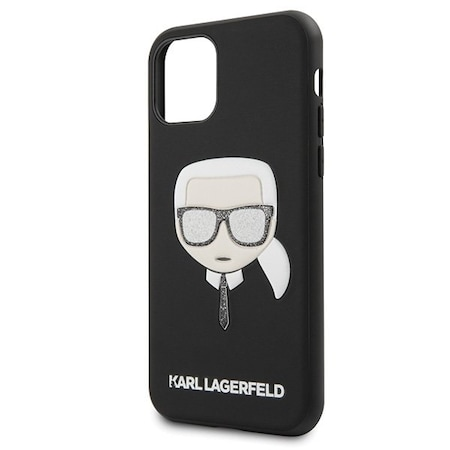 Husa iPhone 11 Karl Lagerfeld Iconik Embossed & Glitter Black