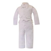 Lux négyrészes alkalmi kordbársony öltöny, keresztelőruha - Norbert (Fehér, 86 (18 hó))