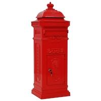 Пощенска кутия vidaXL, винтидж стил, алуминий, червена, 102,5 см