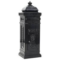 Пощенска кутия vidaXL, алуминий, черна, неръждаема, 35,5х32х102,5 см