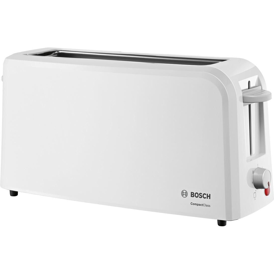 Fotografie Prajitor de paine Bosch TAT3A001, long slot, 980W, 2 felii de paine, Alb