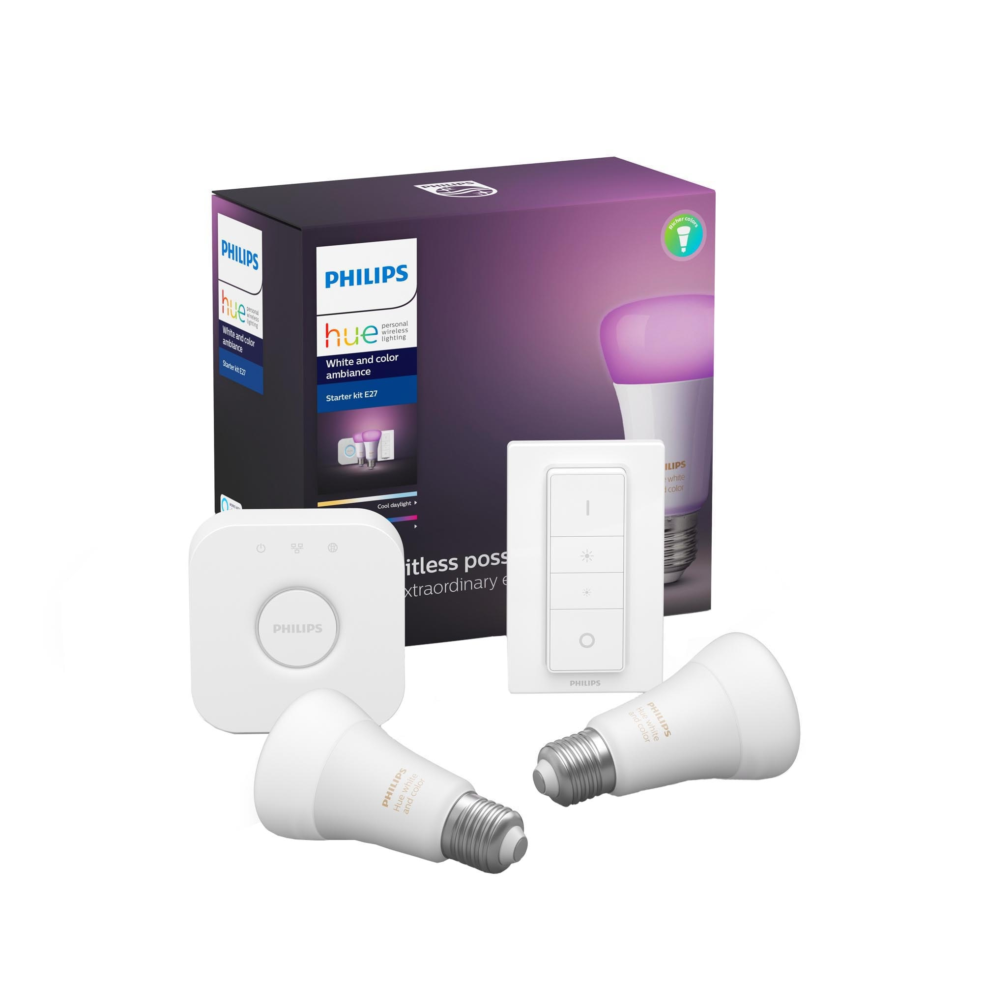 Fotografie Pachet 2 becuri inteligente LED RGB Philips Hue ambianta alba/color, WiFi/Bluetooth , E27, 9W, 806 lm + Bridge si Variator