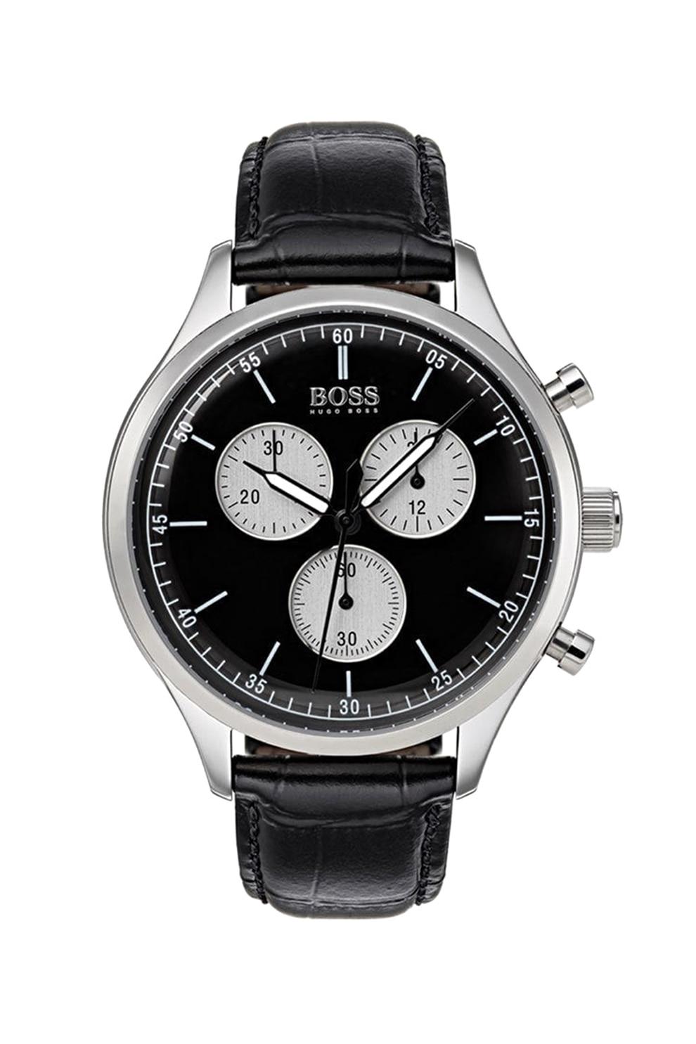 Fotografie HUGO BOSS, Ceas cronograf cu o curea de piele, Negru/Argintiu