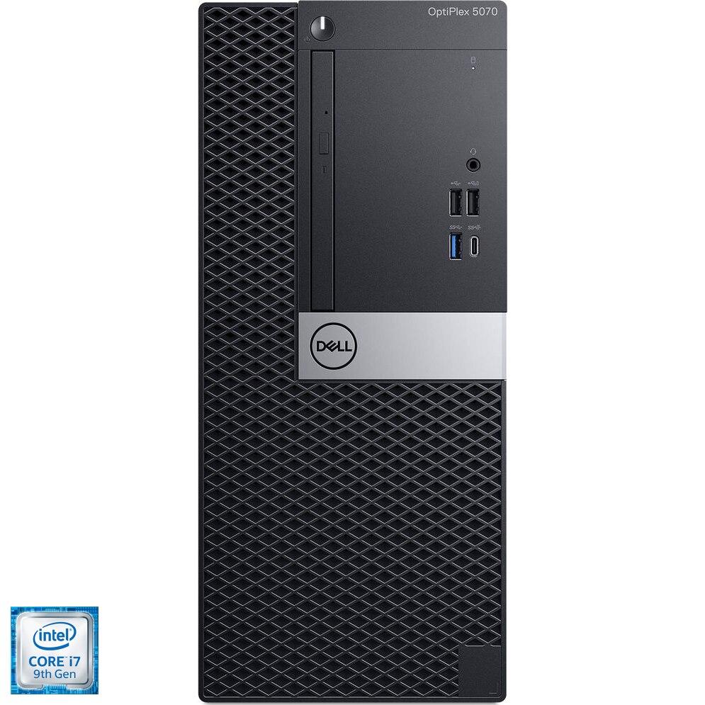 Fotografie Sistem Desktop PC Dell OptiPlex 5070 cu procesor Intel® Core™ i7-9700 pana la 4.70 GHz, Coffee Lake, 8GB, 256GB SSD, DVD-RW, Intel® UHD Graphics 630, Microsoft Windows 10 Pro
