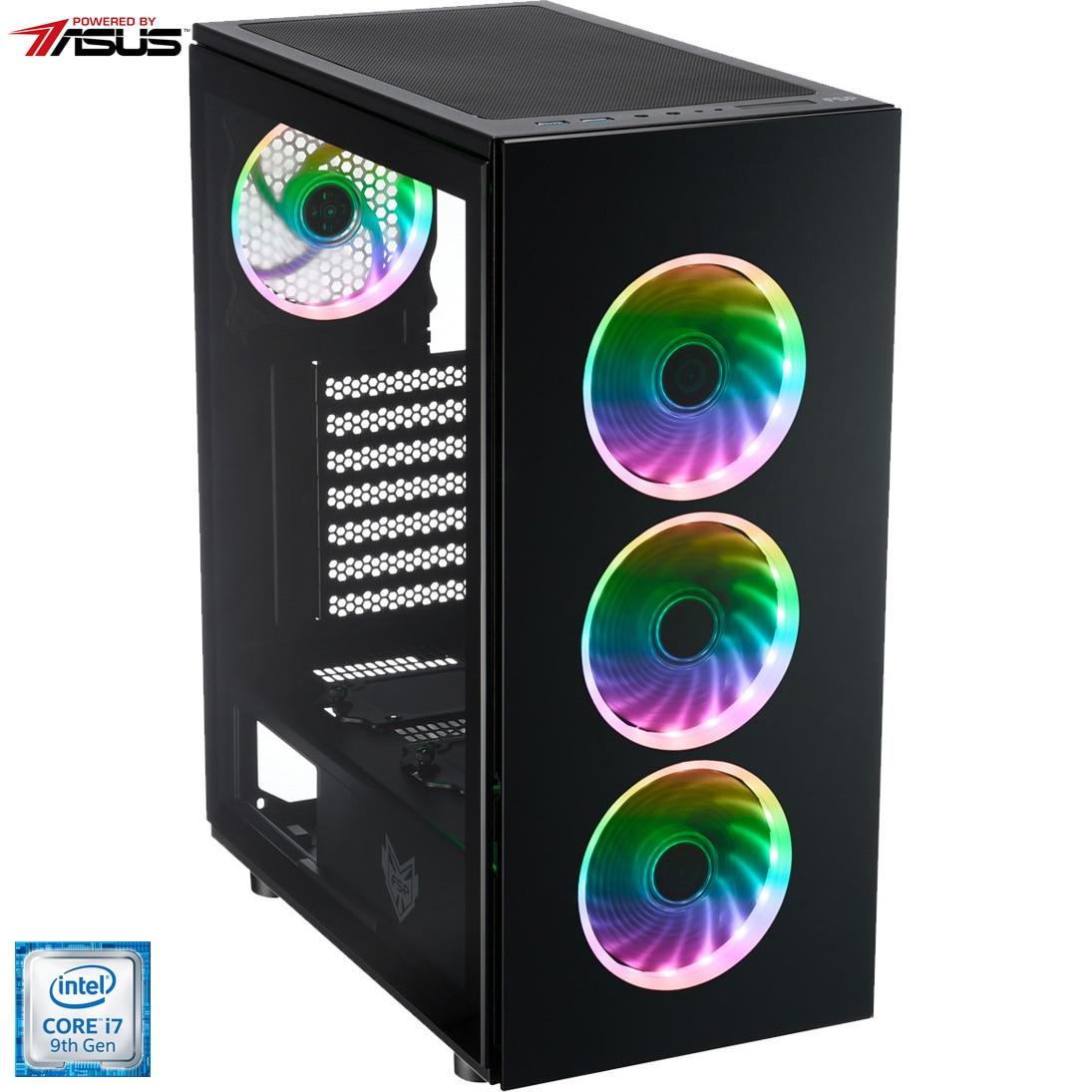Fotografie Sistem Desktop Gaming Serioux Powered by ASUS cu procesor Intel® Core™ i7-9700 pana la 4.70GHz, 16GB DDR4, 2TB HDD, 512GB SSD M.2 PCIe, GeForce® GTX 1660 Ti 6GB GDDR6