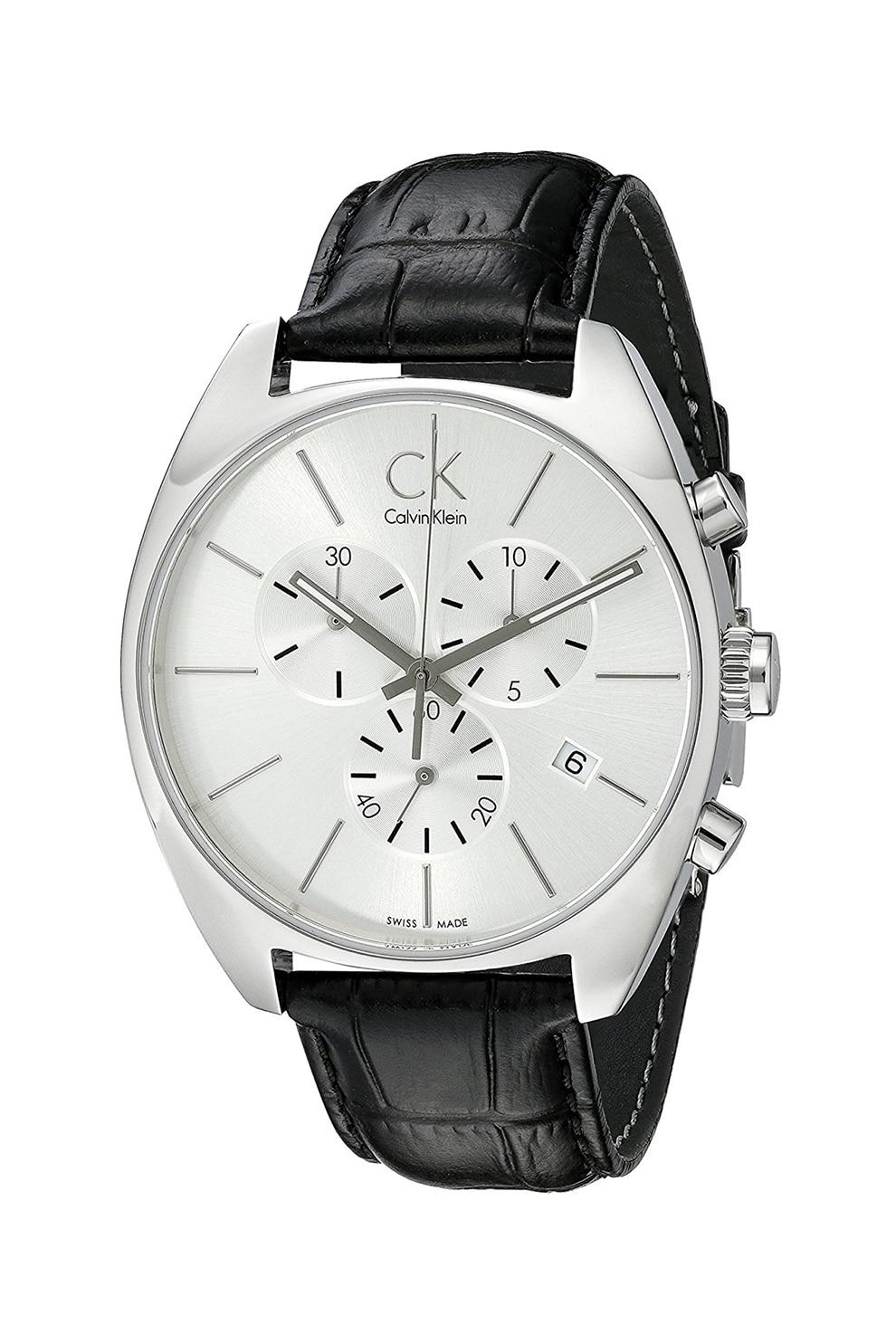 Fotografie Calvin Klein, Ceas cronograf cu o curea din piele, Negru