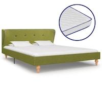 Ágy memóriahabos matraccal, vidaXL, szövet, zöld, 140 x 200 cm