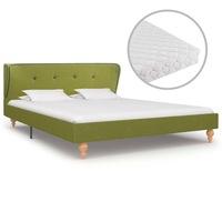 Ágy matraccal, vidaXL, szövet, zöld, 140 x 200 cm