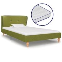 Ágy memóriahabos matraccal, vidaXL, szövet, zöld, 90 x 200 cm