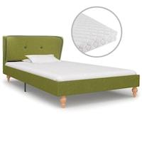 Ágy matraccal, vidaXL, szövet, zöld, 90 x 200 cm