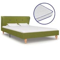 Ágy memóriahabos matraccal, vidaXL, szövet, zöld, 120 x 200 cm