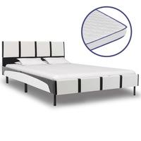 Ágy memóriahabos matraccal, vidaXL, műbőr, fehér és fekete, 120 x 200 cm