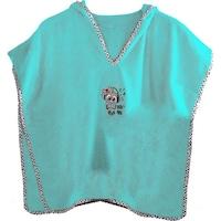 Детско пончо с качулка за баня ,Melodica Ecocotton, цвят мента, 3-5г