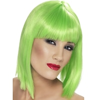 Smiffy's bob típusú paróka, UV-zöld, 30 cm