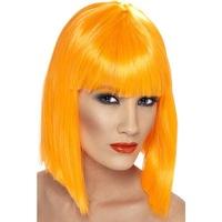 Smiffy's bob típusú paróka, UV-narancssárga, 30 cm