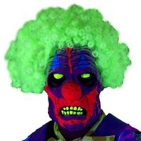 Smiffy's Bohóc UV-maszk afro hajjal, többszín, latex, horror megjelenés