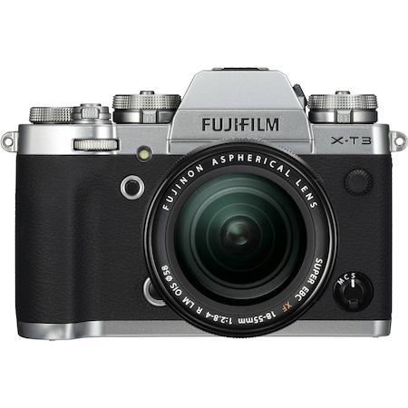 Фотоапарат Mirrorless Fujifilm X-T3, 26 MP, 4K, Сребрист + Обектив XF 18-55 мм