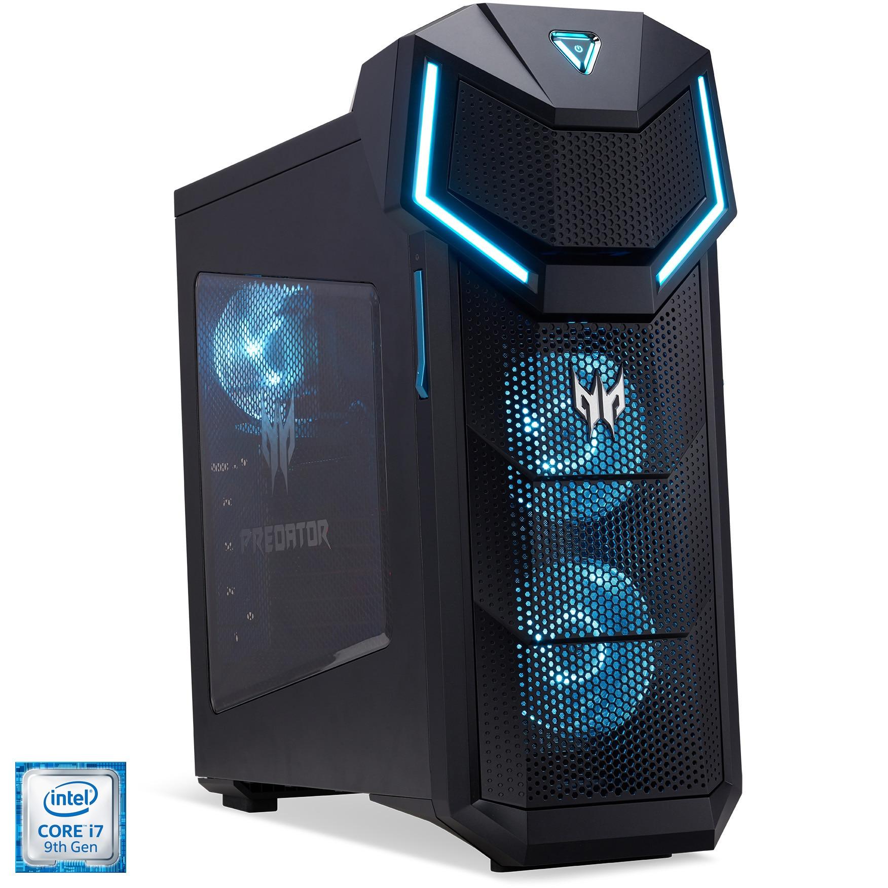 Fotografie Sistem Desktop PC Gaming Acer Predator Orion 5000 cu procesor Intel® Core™ i7-9700K pana la 4.90GHz, Coffee Lake, 16GB, 1TB HDD, 512GB SSD M.2 PCIe, GeForce® GTX 1660 Ti 6GB GDDR6, Microsoft Windows 10 Home, Black