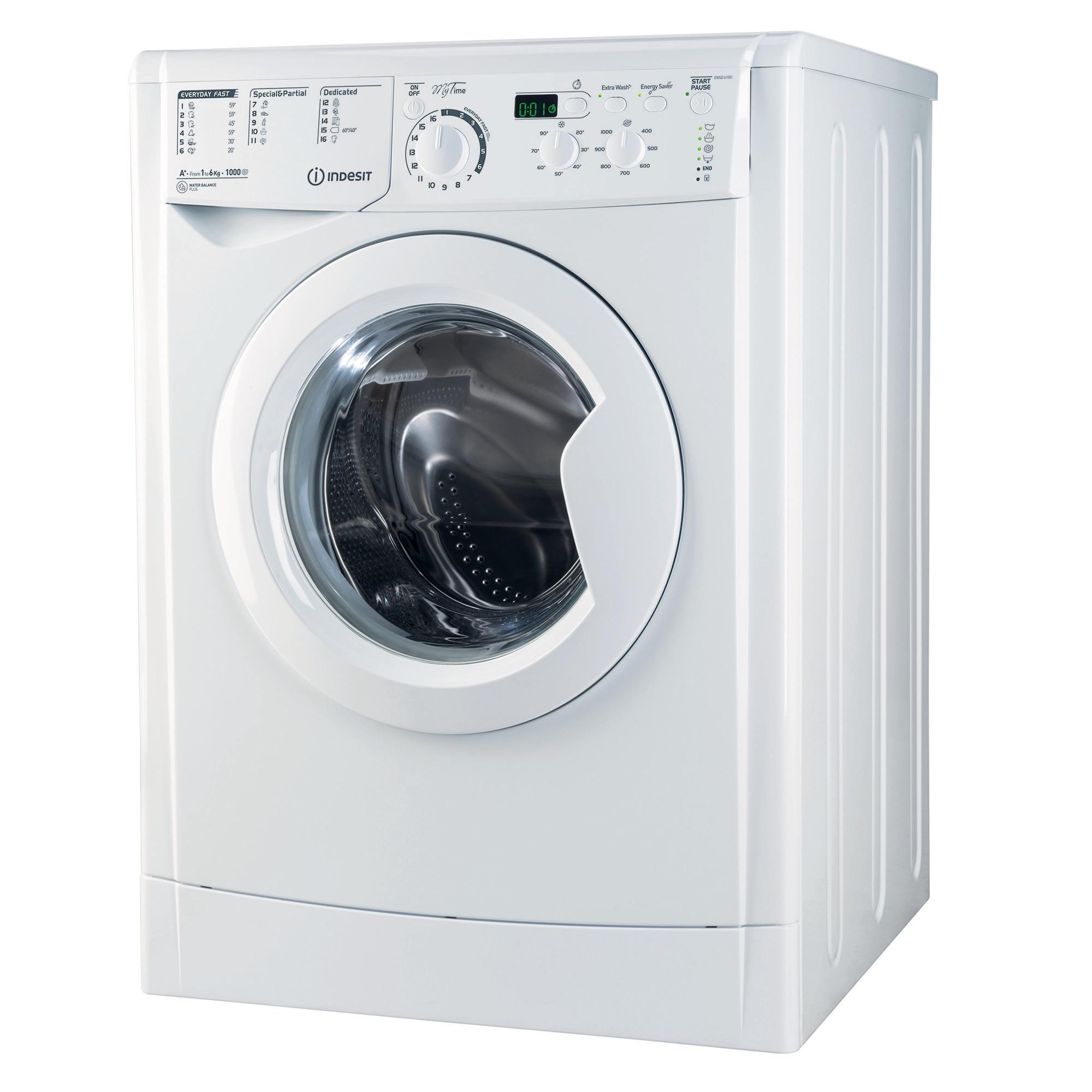 Fotografie Masina de spalat rufe slim Indesit EWSD 61051 W EU, 6 KG, 1000 rpm, Clasa A+, Alb