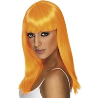 Smiffy's Glamour neon paróka, hosszú haj, UV-narancssárga
