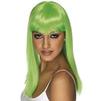 Smiffy's Glamour neon paróka, hosszú haj, UV-zöld