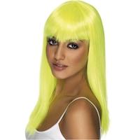 Smiffy's Glamour neon paróka, hosszú haj, UV-sárga