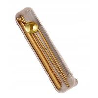 szívószálkészlet 3 Whisky Rocks metál szalmával, 2 x tisztítókefe, 21 cm, arany