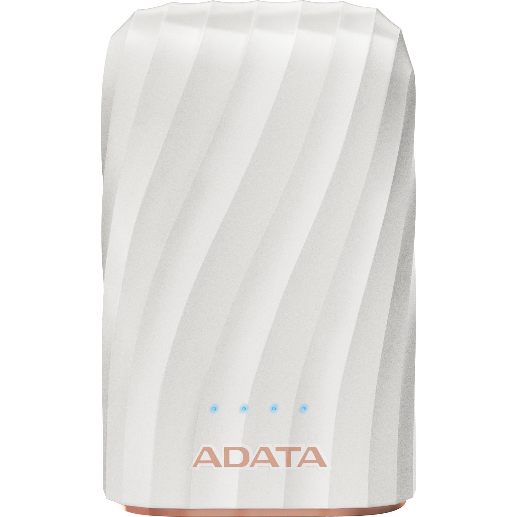 Fotografie Acumulator extern ADATA P10050C, USB Type-C, 10050 mAh, White
