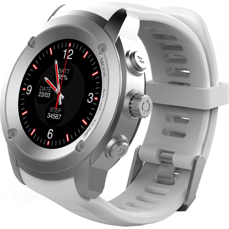 Fotografie Ceas Smartwatch FitGo FW17 Power, GPS, bratara silicon sport, Argintiu Alb