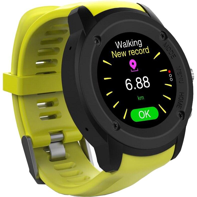 Fotografie Ceas Smartwatch FitGo FW17 Power, GPS, bratara silicon sport, Galben Titanium