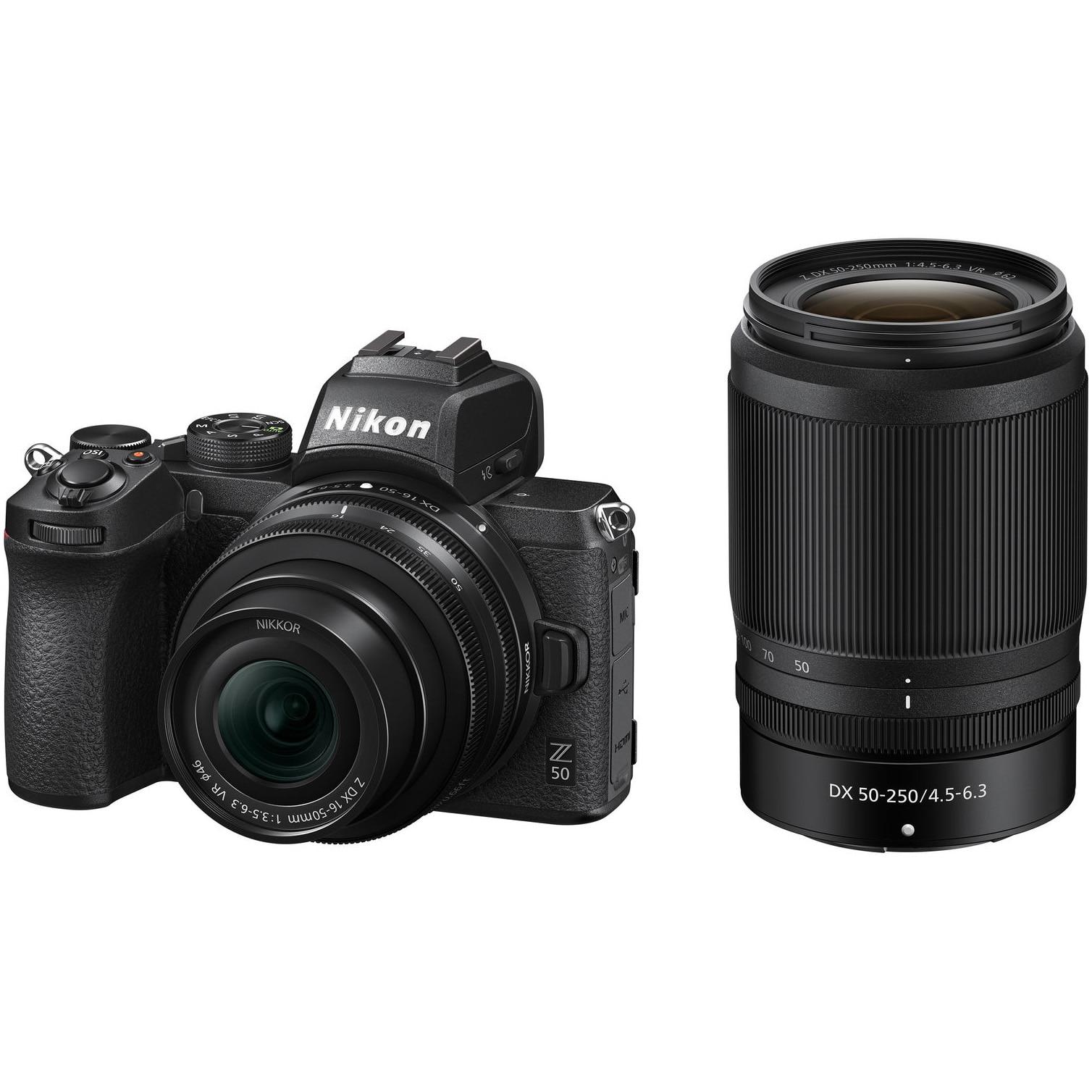 Fotografie Aparat foto Mirrorless Nikon Z50, 20.9 MP , 4K , Wi-Fi + Obiectiv 16-50mm + Obiectiv 50-250mm, Negru