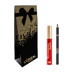 Комплект L'Oreal Paris: Спирала за мигли Volumissime Royale Black 7.9 мл, Молив за очи Color Riche Le Khol 101 Midnight Black