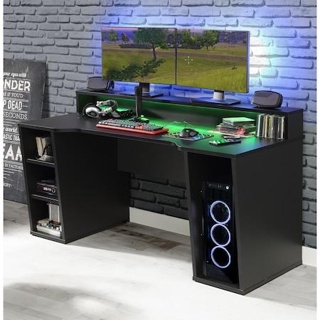 Birou Kring Gaming , 160x91x72 cm, culoare negru, include LED