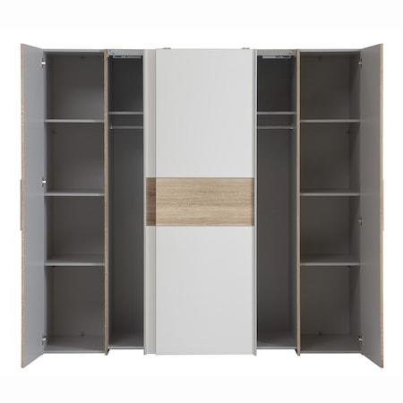 Dulap Kring York, usi culisante, stejar nisipiu/alb, 200 x 190 x 62 cm