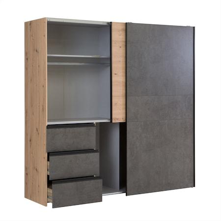 Dulap Kring Houston. usi culisante, sertare, culoare stejar / optica beton gri inchis, 200 x 200 x 61 cm