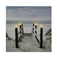 4 LEDes világító falikép tengerparti lejáró 40cm x 40cm