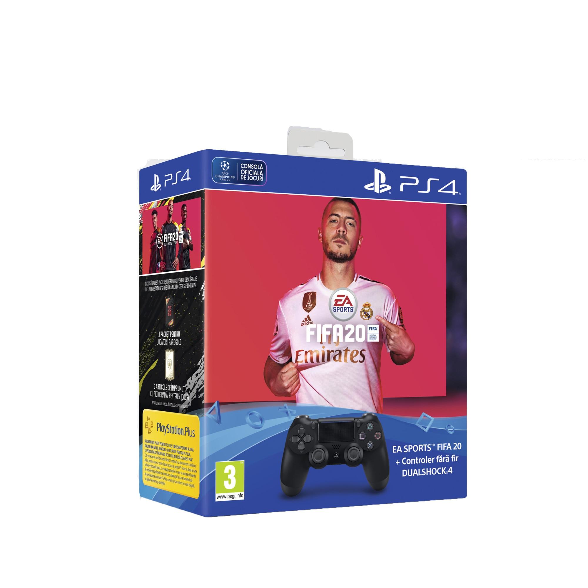 Fotografie Controller Sony PlayStation DualShock 4 v2, Negru + Joc FIFA 20 pentru PlayStation 4