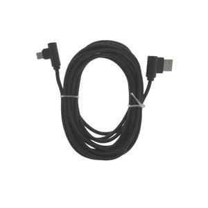 Cablu USB 2.0 la microUSB, unghi 90 grade la ambele capete, 300 cm lungime, invelis textil, negru