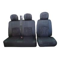 Универсални калъфи тапицерия за предни седалки Flexzon Vito Sprinter Transporter T4 T5 Vivaro Master, 2+1 бус, Черни