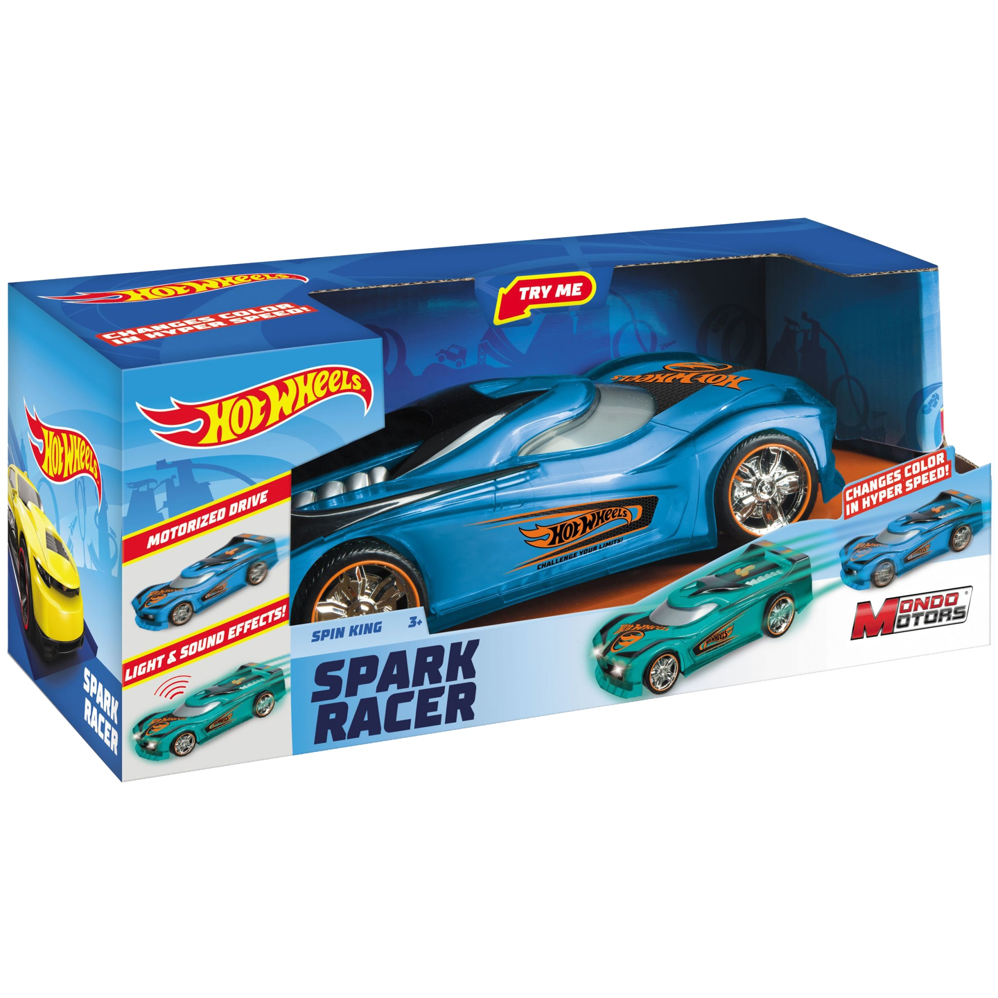 Fotografie Masinuta Hot Wheels Spark Racer - Spin King, cu lumini si sunete