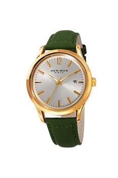 AKRIBOS XXIV, Кварцов часовник с кожена каишка, Тъмнозелен, златист, сребрист