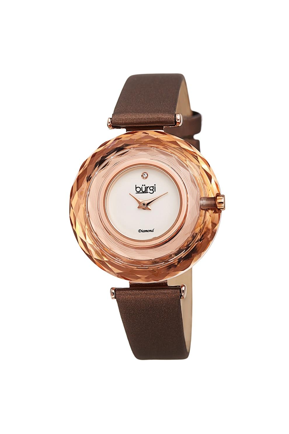 Fotografie BURGI, Ceas cu o curea din piele, aspect satinat si diamante pe cadran, Maro/Auriu rose