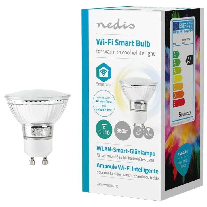 Fotografie Bec inteligent LED Nedis, Wi-Fi, dimabil, GU10, 5W (50W), 360 lm, A+, lumina alba calda/rece
