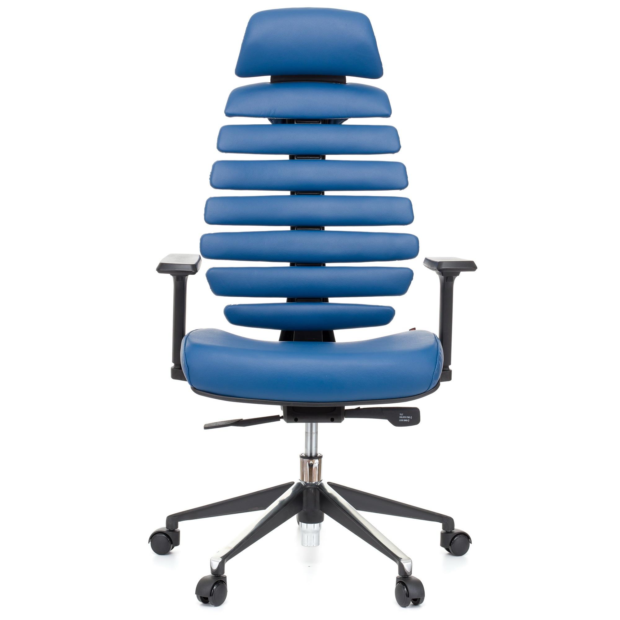 QMOBILI ERGO LINE HI Kék ergonomikus szék, valódi bőr, fejtámla, csúszó ülés, önállóan állítható deréktámasz, állítható 3D karfa, alumínium