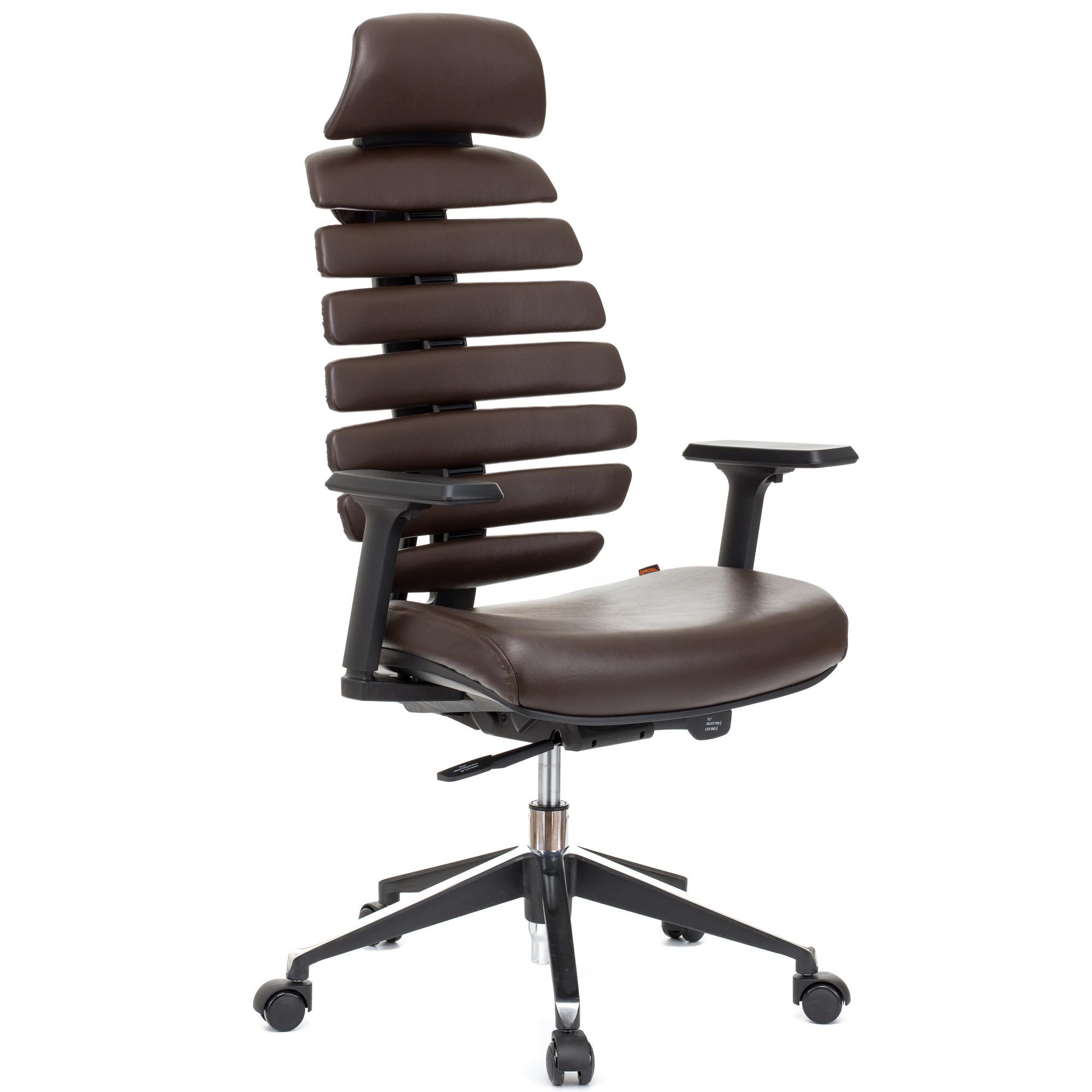 QMOBILI ERGO LINE HI Barna ergonomikus szék, valódi bőr, fejtámla, csúszó ülés, önállóan állítható deréktámasz, állítható 3D karfa, alumínium